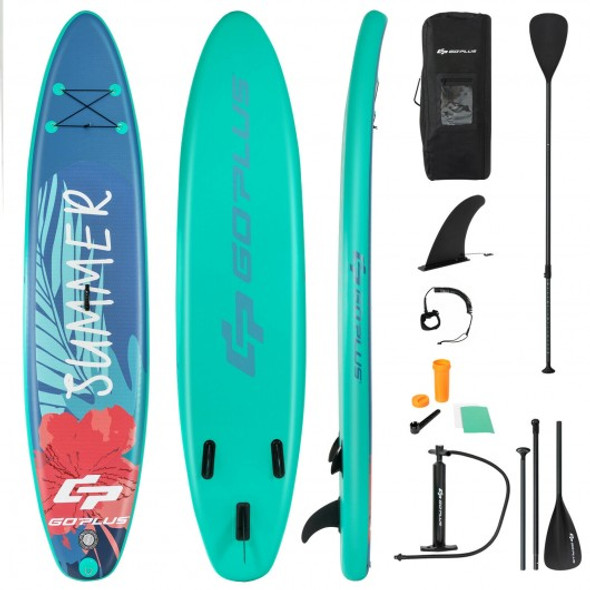 10 Feet Inflatable Stand Up Paddle Board with Backpack Leash Aluminum Paddle-M