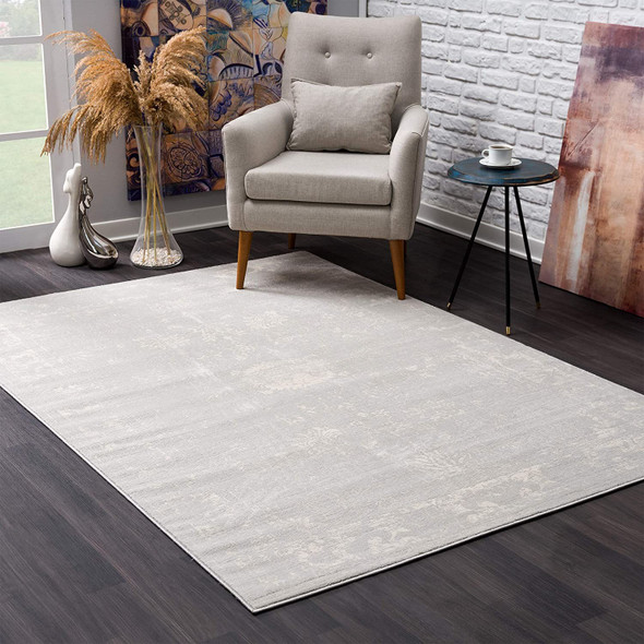 2 x 3 Modern Gray Distressed Scatter Rug