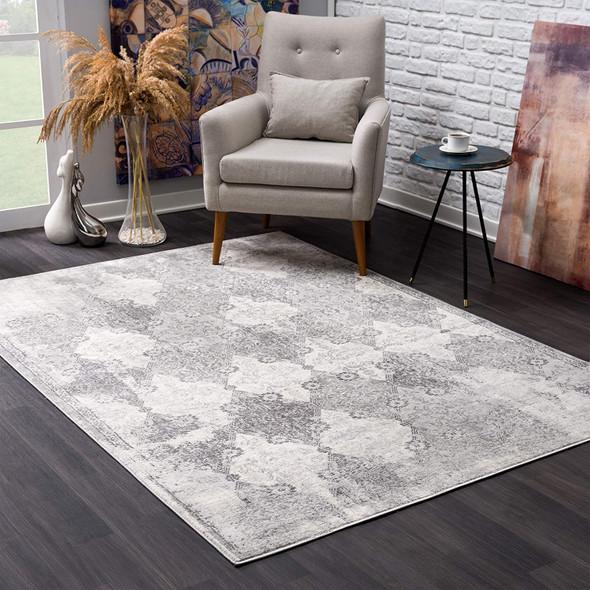 8 x 11 Gray Distressed Trellis Pattern Area Rug