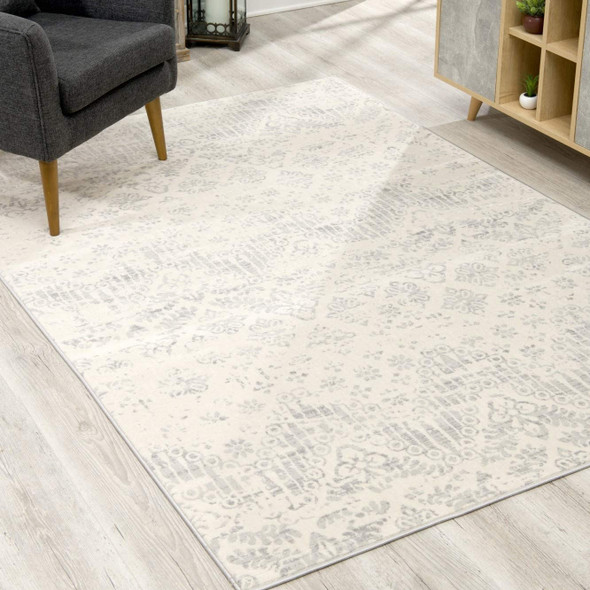 2 x 3 Ivory Distressed Ikat Pattern Scatter Rug