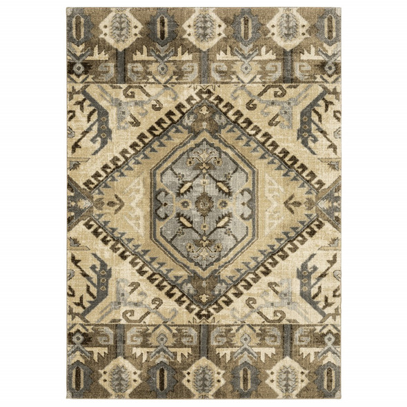 8 x 11 Tan and Gold Central Medallion Indoor Area Rug