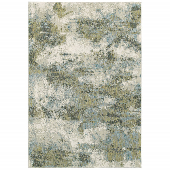 9 x 12 Blue and Sage Distressed Waves Indoor Area Rug