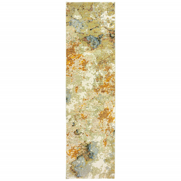 2 x 8 Modern Abstract Gold and Beige Indoor Runner Rug