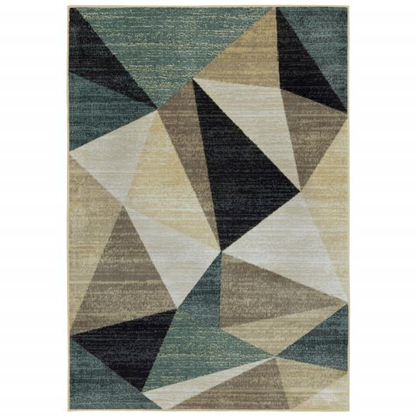8 x 10 Gray and Teal Geometrics Indoor Area Rug