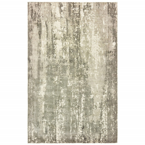 10 x 14 Gray and Ivory Abstract Splash Indoor Area Rug