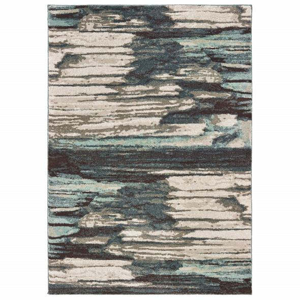 7' x 10' Ivory Blue Gray Abstract Layers Indoor Area Rug