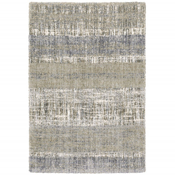 8'x10' Grey and Ivory Abstract Lines Area Rug