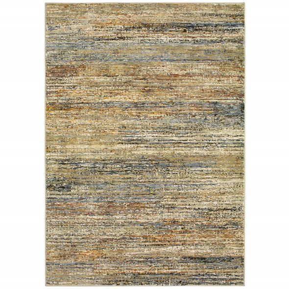 5'x8' Gold and Green Abstract Area Rug