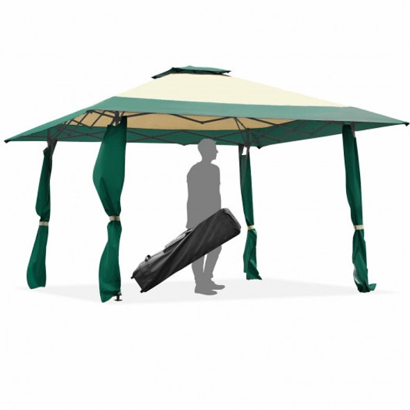 13'x13' Pop Up Canopy Tent Instant Outdoor Folding Canopy Shelter-Green