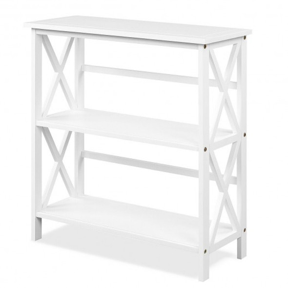 3-Tier Wooden Open Shelf Bookcase with X-Design-White - COHW68557WH