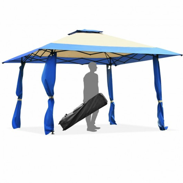 13'x13' Pop Up Canopy Tent Instant Outdoor Folding Canopy Shelter-Blue