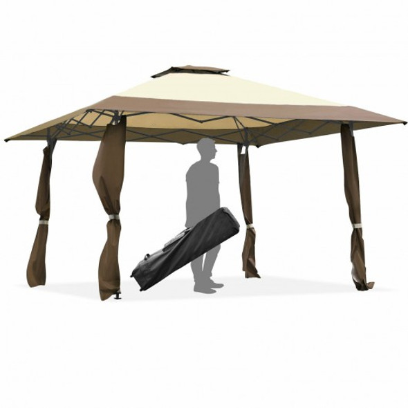 13'x13' Pop Up Canopy Tent Instant Outdoor Folding Canopy Shelter-Brown