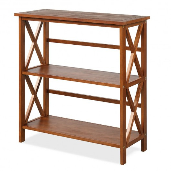 3-Tier Wooden Open Shelf Bookcase with X-Design-Natural - COHW68557NA