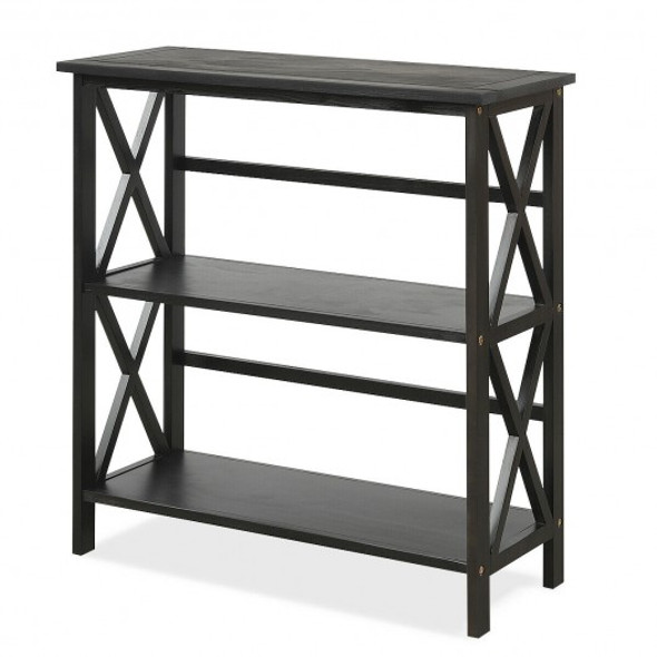 3-Tier Wooden Open Shelf Bookcase with X-Design-Black - COHW68557BK