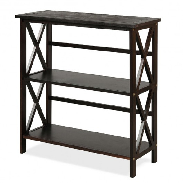 3-Tier Wooden Open Shelf Bookcase with X-Design-Coffee - COHW68557CF