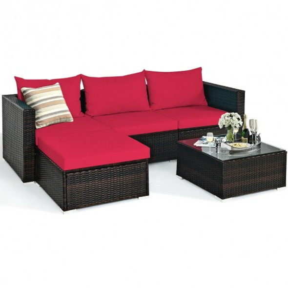 5 Pcs Patio Rattan Sectional Furniture Set with Cushions and Coffee Table-Red