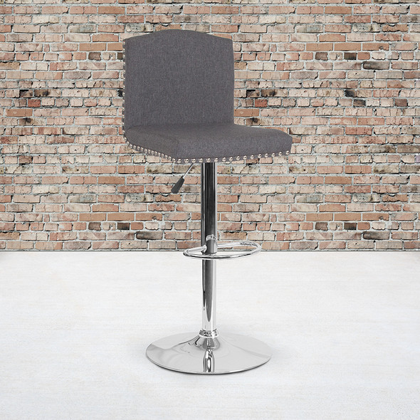 Gray Leather Barstool - FLDS-8111-GRY-GG