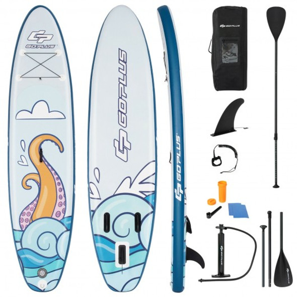 11 ft Inflatable Stand Up Paddle Board Surfboard with Aluminum Paddle Pump-11 ft