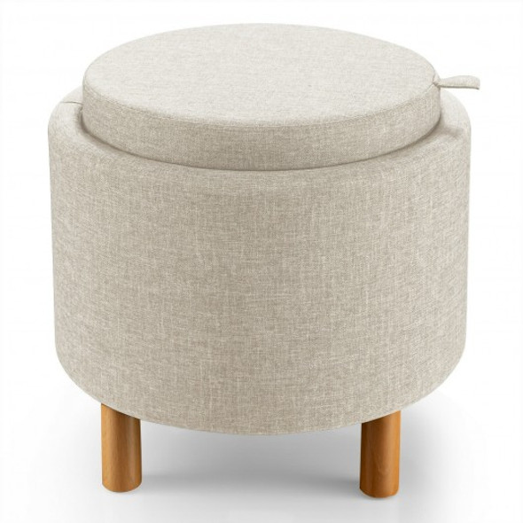 Round Storage Ottoman with Tray Top Accent Padded Footrest and Wood Legs Beige for Living Room and Bedroom-Beige
