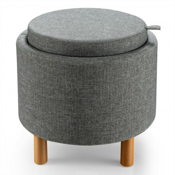 Round Storage Ottoman with Tray Top Accent Padded Footrest and Wood Legs Beige for Living Room and Bedroom-Gray