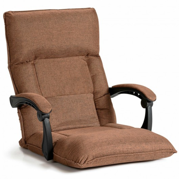 14-Position Floor Chair Lazy Sofa with Adjustable Back Headrest Waist-Coffee