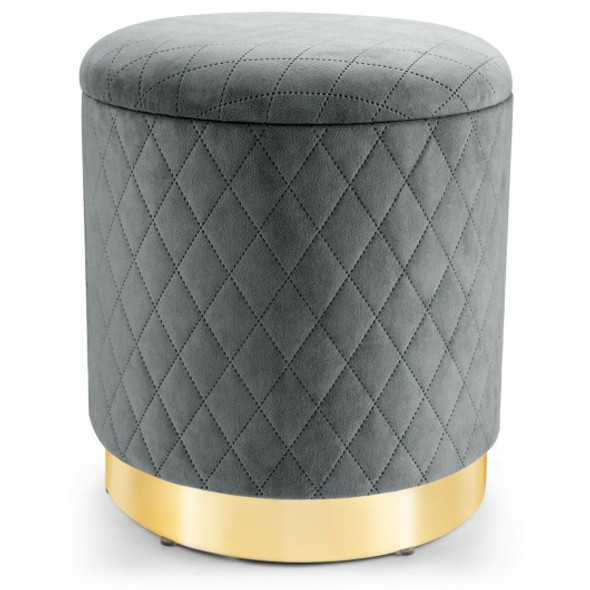 Round Storage Ottoman with Exquisite Pattern and Golden Metal Base for Living Room and Bedroom-Gray