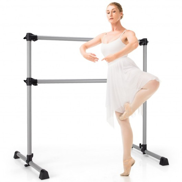 4 Feet Portable Double Freestanding Barre Dancing Stretching-Silver