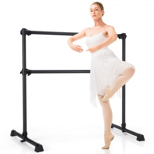 4 Feet Portable Double Freestanding Barre Dancing Stretching-Black