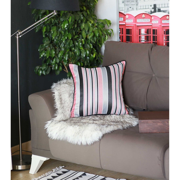"17""x 17"" Multicolor Jacquard Stripe Decorative Throw Pillow Cover"
