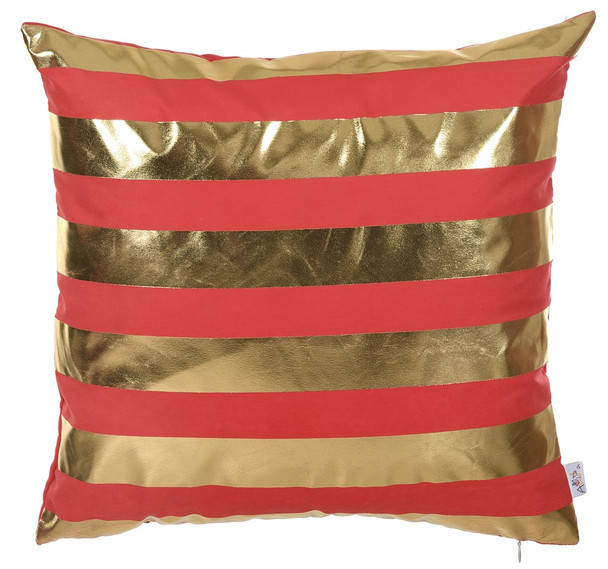 """18""""x 18"""" Gold Happy Square Stripes Printed Decorative Throw Pillow Cover Pillowcase"""