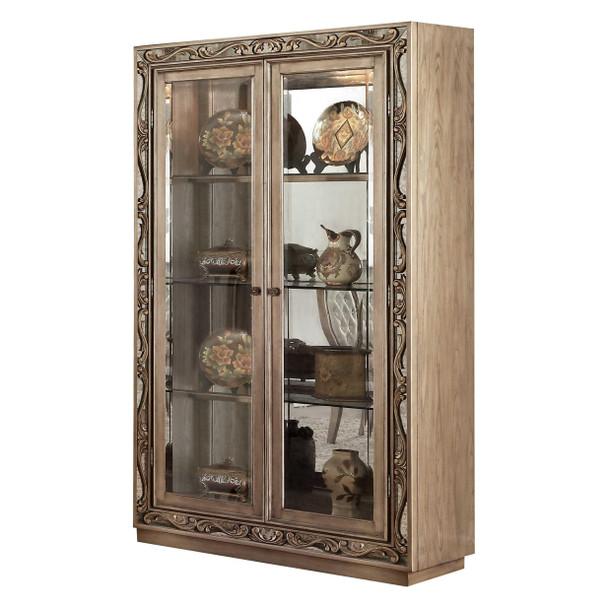 """46"""" X 18"""" X 80"""" Antique Gold Curio Cabinet"""