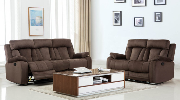 84'' X 38'' X 40' Modern Brown Leather Sofa And Loveseat