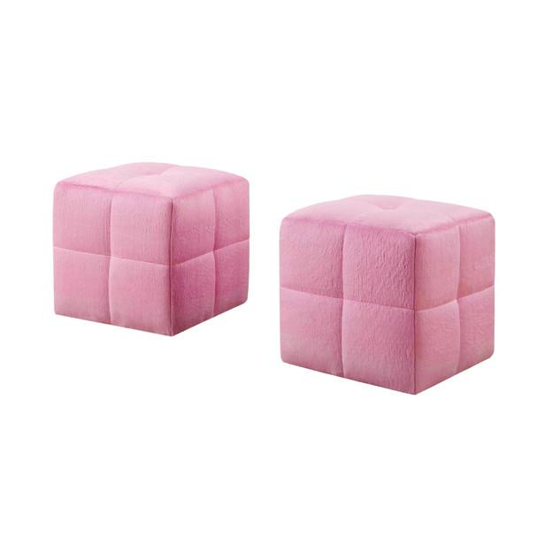"""24"""" x 24"""" x 24"""" Pink, Fabric - Ottoman 2pcs Set"""
