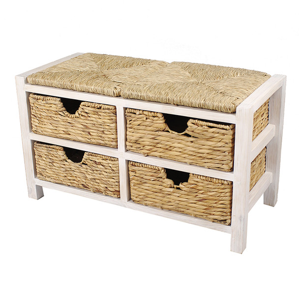"""20"""" White Wood Bench with 4 Hyacinth Baskets and a Seagrass Top - 294593"""