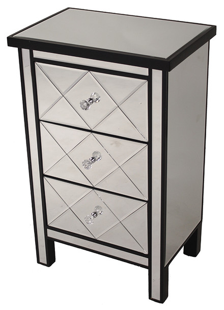 """31"""" Black Wood Accent Cabinet with 3 Beveled Mirrored Drawers"""