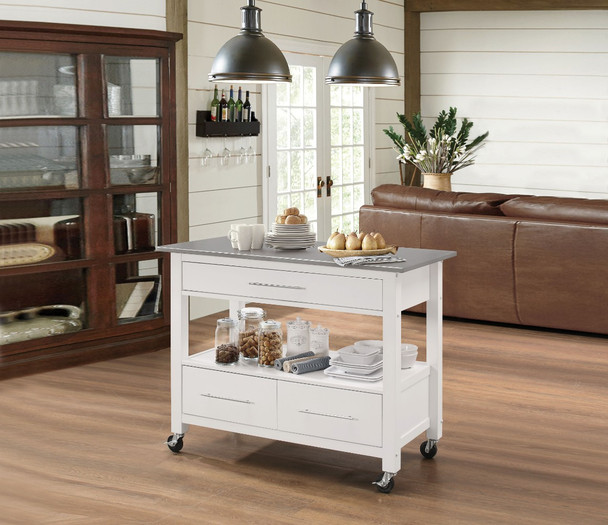 Kitchen Cart With Stainless Steel Top, Gray amp; White - 314037