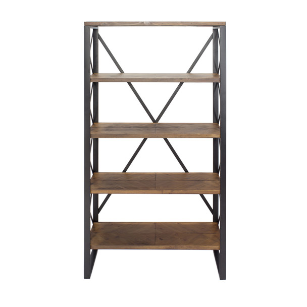 """32.75"""" Natural and Orange Metal, Wood, and MDF Bookcase with 5 Shelves"""