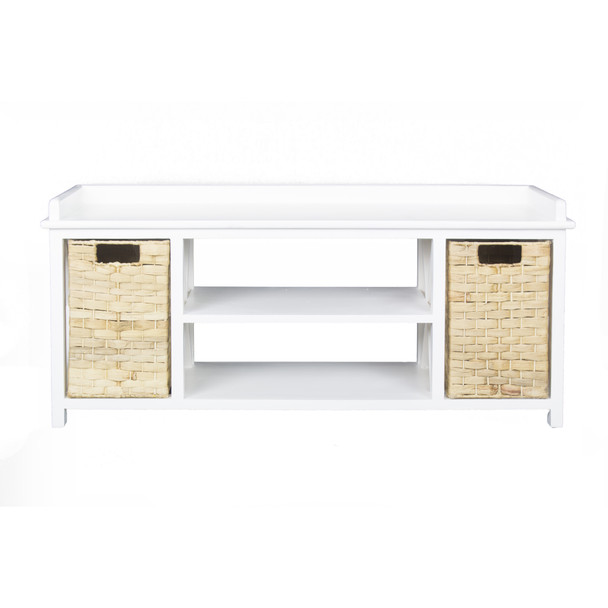 """18"""" White MDF and Rattan Storage Bench with 2 Baskets"""