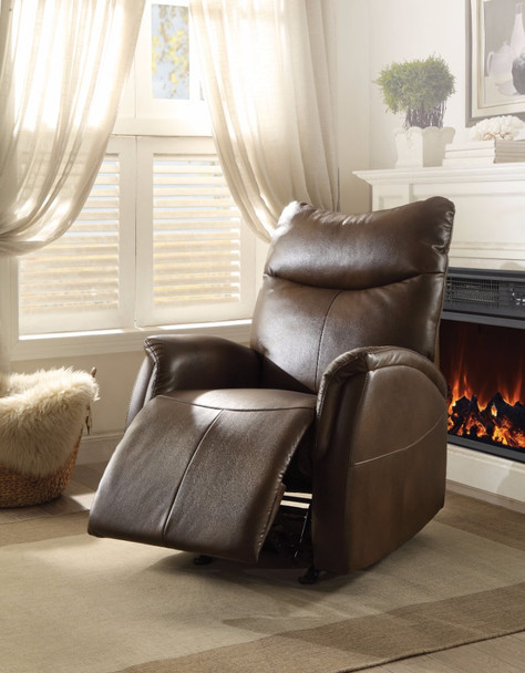 Rocker Recliner, Brown Leather-Aire