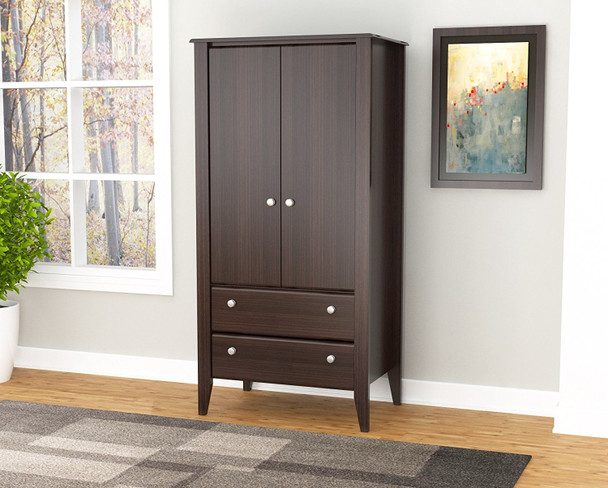 """63"""" Espresso Melamine and Engineered Wood Wardrobe with 2 Doors and 2 Drawers"""