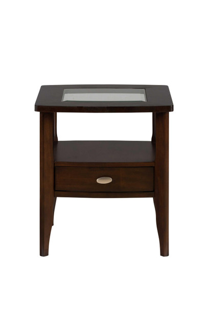 Wooden End Table with Glass Inserted Top, Merlot Brown