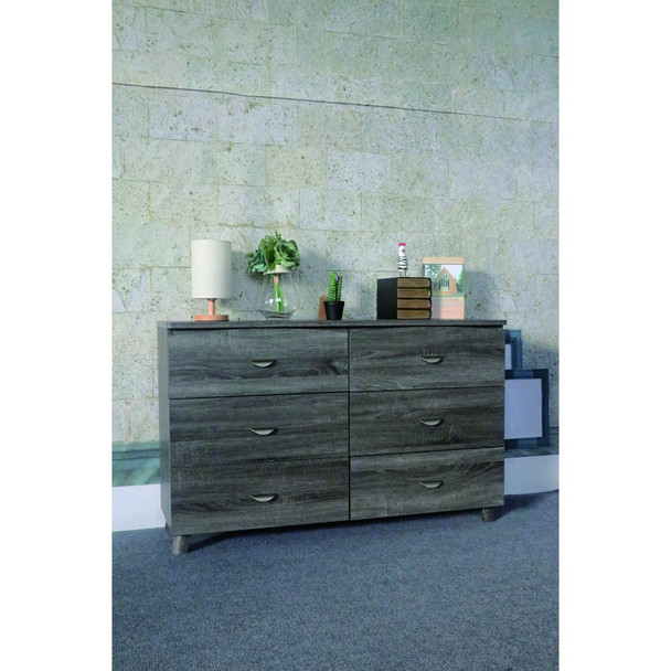 Spacious Dresser With Six Storage Drawers On Metal Glides, Gray Finish
