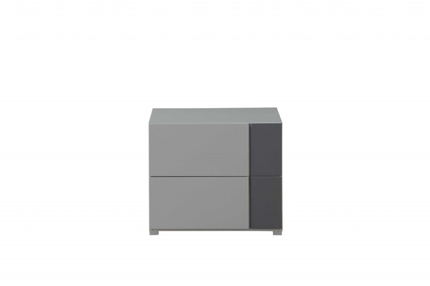 "24"" X 17"" X 20"" Light Grey And Dark Grey Nightstand"