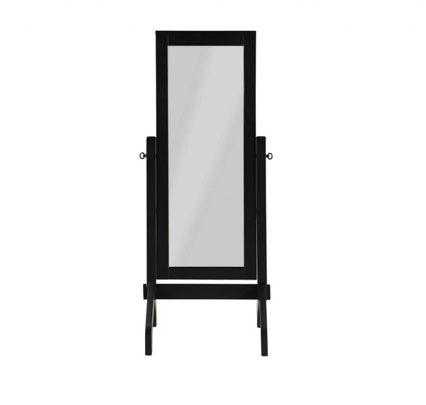 "22"" X 22.5"" X 59"" Black Rubberwood Rectangle Mirror"