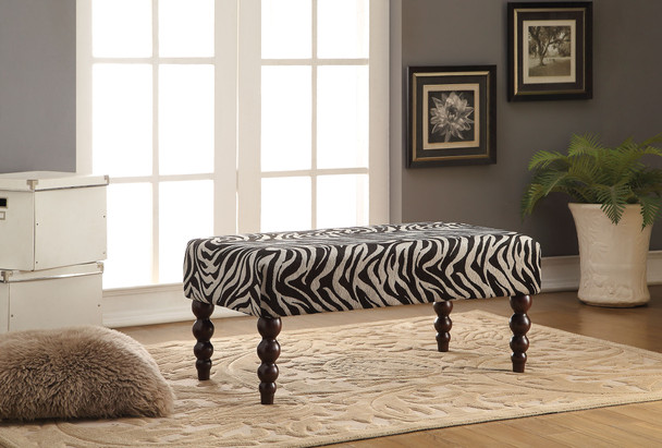 """40"""" X 20"""" X 17"""" Zebra Fabric And Rubber Wood Bench"""