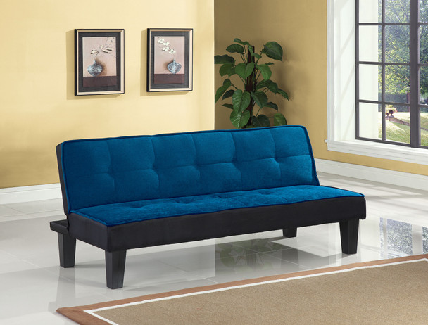"""66"""" X 29"""" X 28"""" Blue Flannel Fabric Adjustable Couch"""