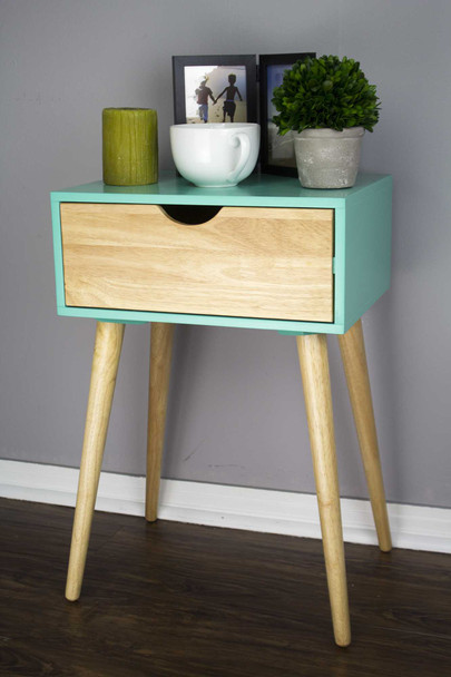 "24"" Aqua End Table with 1 Drawer"