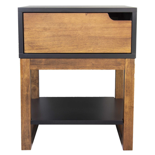 "26"" X 16"" X 12"" Black amp; Mocha Solid Wood One Drawer Side Table w/ Shelf"