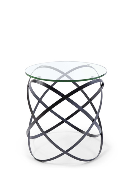 Side Table 10Mm Clear Glass Top Black Lacquer Metal Base