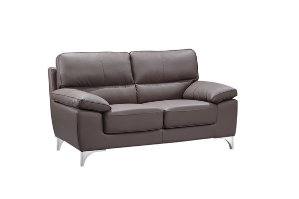 "37"" Classy Brown Leather Loveseat"